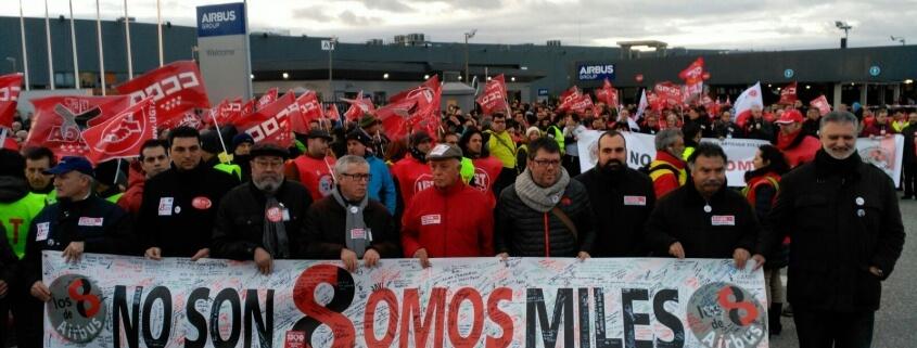 En la marcha de apoyo a los 8 de Airbus