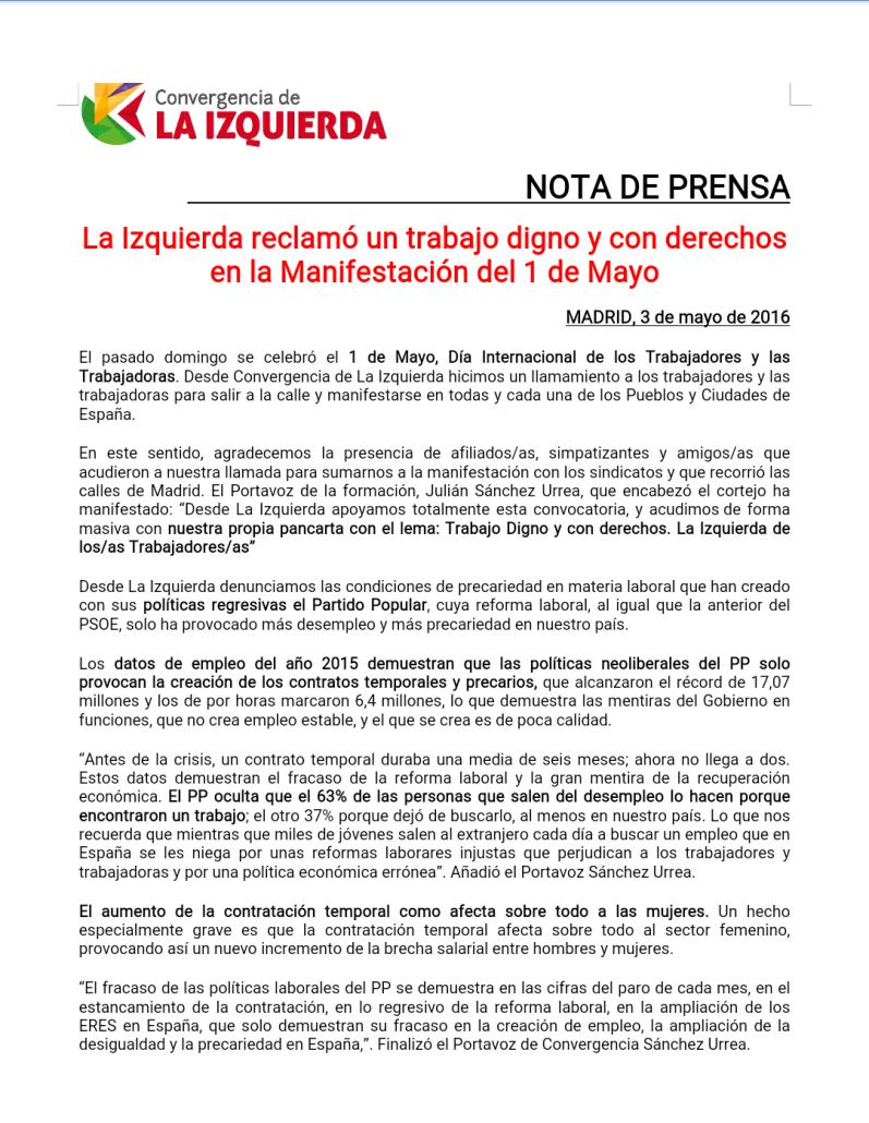 NP La Izquierda reclamó un trabajo digno y con derechos por el 1 de Mayo definitivo